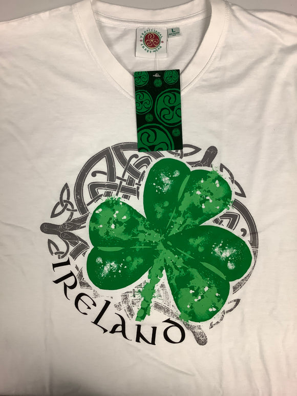 White Irish Green Shamrock V-Neck