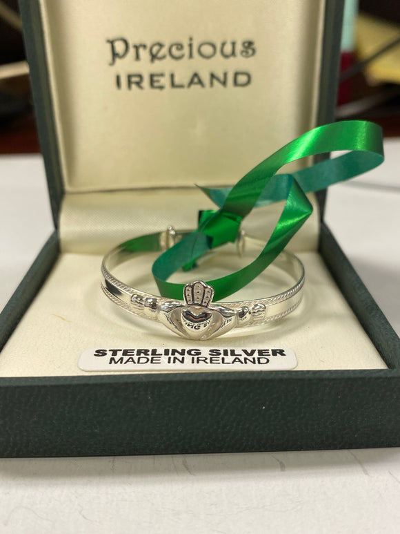 Sterling Silver Claddagh Baby Bangle #SA74123