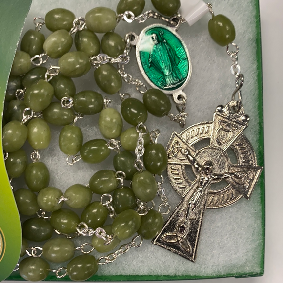 Real Connemara marble rosary beads with st. Patrick medal