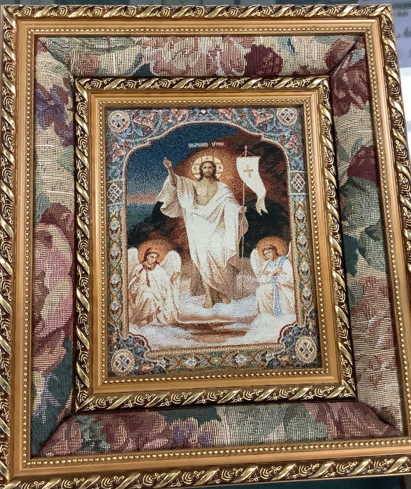 3D framed tapestry Jesus with angels