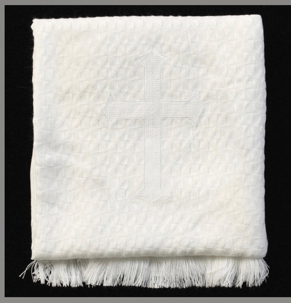 ACRYLIC BLANKET W/ EMBROIDERED CROSS (40