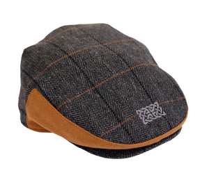 Boys grey tweed Celtic knot cap