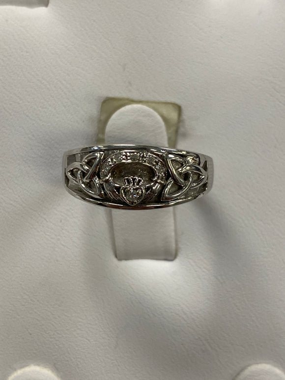 Unique white gold claddagh with trinity on sides and diamonds