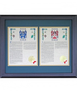 Personalized 16 x 20 Walnut Frame His & Her Coat of Arms With last Name History Matted & Framed Print
