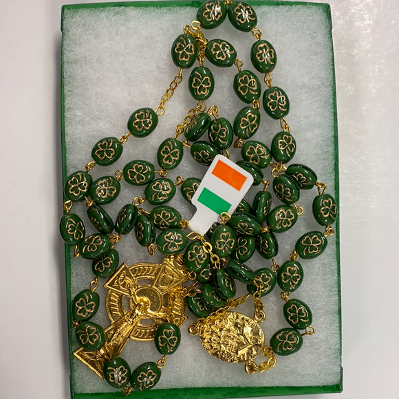 "Irish celtic rosary ""our lady of knock"" with knock water in medal"