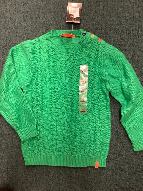 Patrick Francis emerald cotton cable kids jumper
