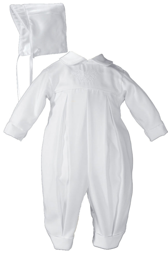 Boys Pleated Christening Baptism Coverall with Embroidered Shamrock Cluster and Hat GBSH51