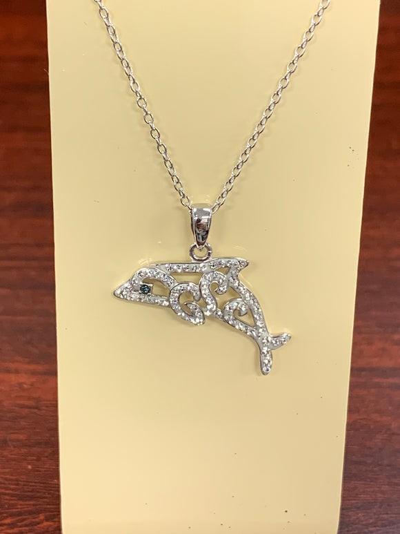 Silver Dolphin with Swarvoski Crystals and Blue Stone