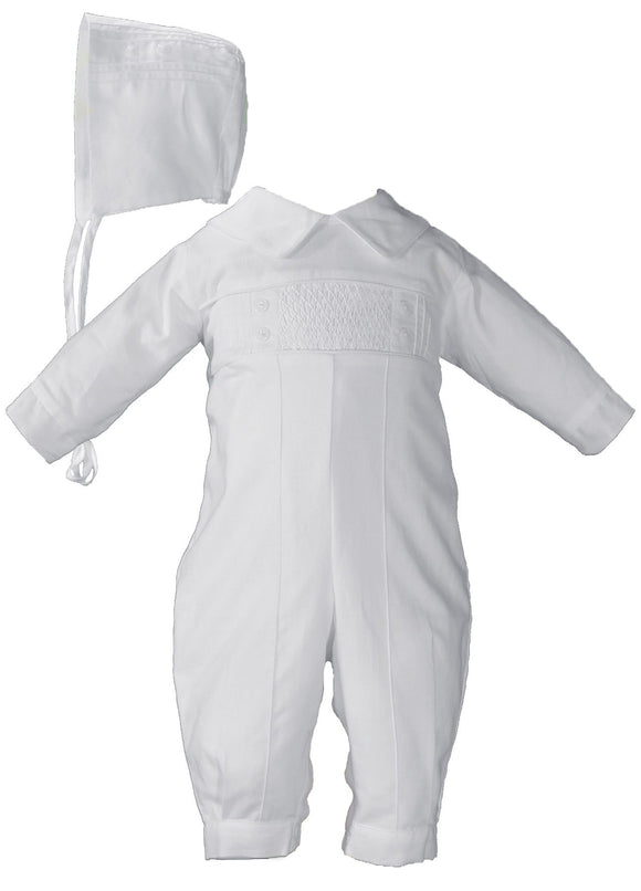 Boys Long Sleeve Cotton Hand Smocked Pin Tucked Christening Baptism Coverall #CB9381