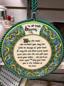 Irish weave blessing plaque / pot stand