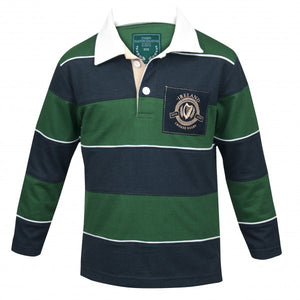 CROKER Kids Green & Navy Striped Rugby Jersey
