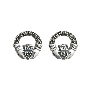 SILVER MARCASITE CLADDAGH STUD EARRINGS