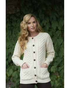 Aran Crafts Merino Wool Traditional Lumber Cardigan - Ladies