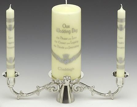Pewter Wedding Candlestick - Claddagh  (9