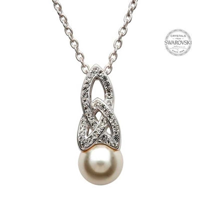 SILVER CELTIC PEARL PENDANT ADORNED WITH SWAROVSKI CRYSTALS