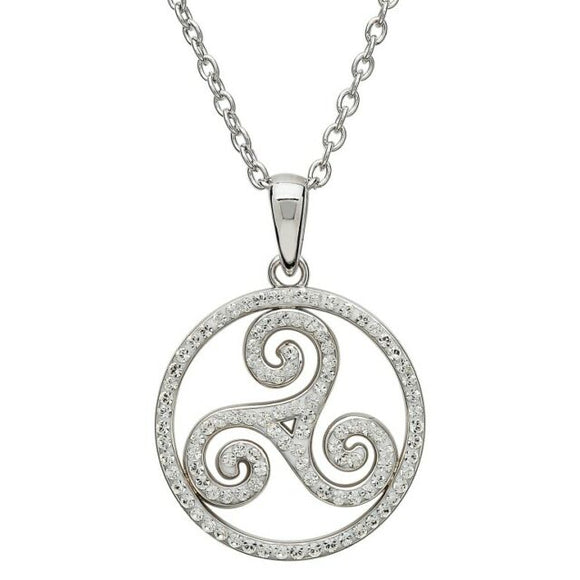 Silver Celtic Swirl Pendant Encrusted with Swarovski Crystals