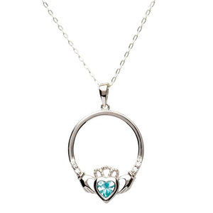 S/S Claddagh December Birthstone Pendant