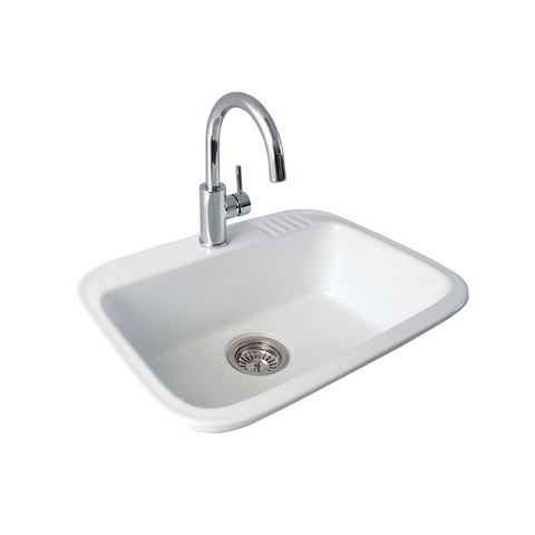 Eva 600 Laundry Sink Inset White One Taphole 191501 (4516800069692)
