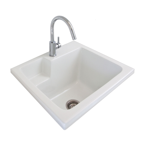 Eva 620 Laundry Sink Inset White One Taphole 191505 (4516800135228)