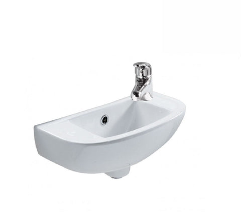 Fienza Wall Hung Ceramic Basin RAK Compact Slim 1th White (2530541568060)