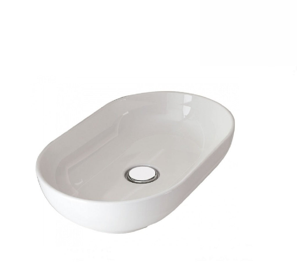 Fienza Above Counter Ceramic Basin RAK Moon Oval White (2530540978236)