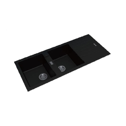 Aquaperla Arete Stone Kitchen Sink Black Granite Quartz Double Bowls Drainboard Top/Undermount 1160x500x200mm OX1150.KS (4670901944380)