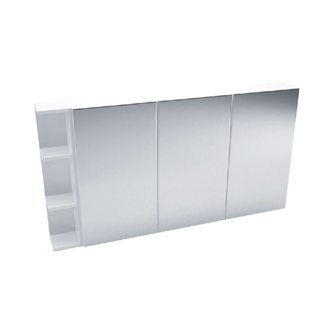 Fienza Mirror Cabinet 1350mm with one side shelf Gloss White PS135 (4689840767036)