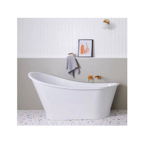 ADP Placido 1590mm Cast Marble Freestanding Bath Gloss White PLACBATH1590G (4641023918140)