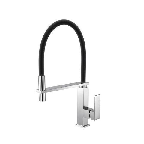 Aquaperla Kitchen Square Sink Mixer Brushed Nickel with Black Pull Out Hose BU1032KM (4670902272060)