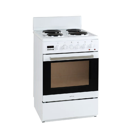 Artusi Oven 54cm Single Upright 7 Functions 4 Solid Hotplates White AFE547W (4615429193788)