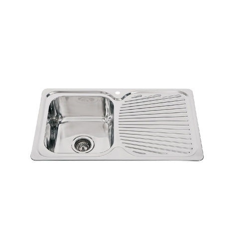 Mercer Sink Everest Main Bowl & Right Hand Drainer 1th 780mm Stainless Steel ET100R (4597294596156)