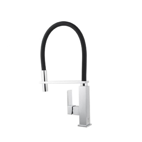 Aquaperla Kitchen Square Sink Mixer Chrome with Black Pull Out Hose CH1032KM (4670902304828)