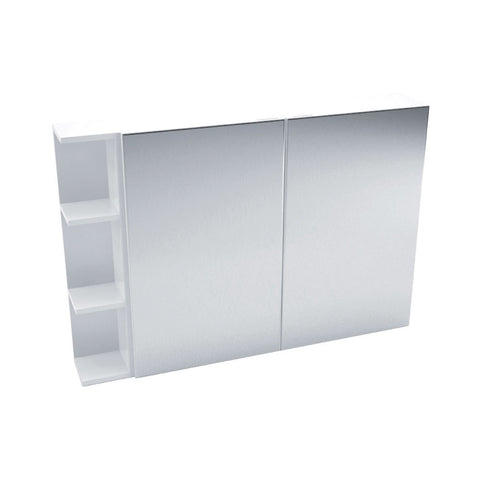 Fienza Mirror Cabinet 1050mm with one side shelf Gloss White PS105 (4689840734268)