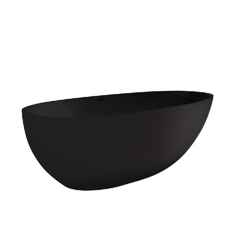 Fienza Bahama Cast Stone Solid Surface Bath 1700mm No Overflow Matte Black ST03MBNO (4597285945404)
