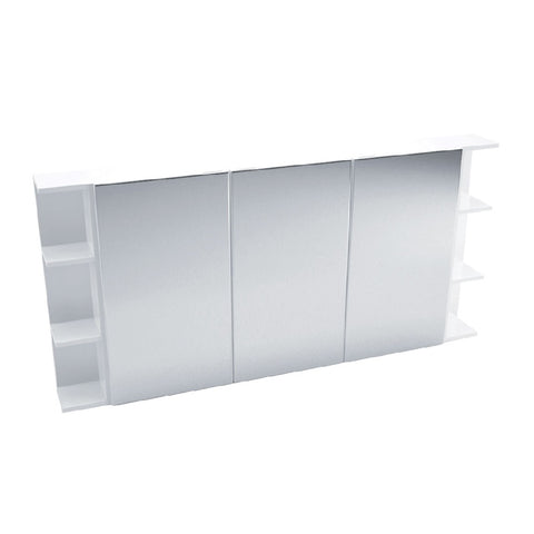 Fienza Mirror Cabinet 1500mm with two side shelves Gloss White PSS150 (4689840865340)