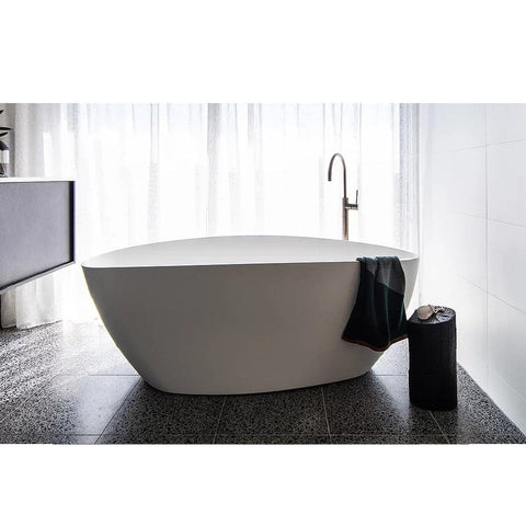 ADP Tranquil Plus 1700mm Cast Marble Freestanding Bath Matte White TRANPBATH1700M (4641024114748)