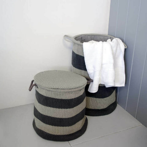 ADP Bronx Laundry Basket Small with Lid Grey JACCNYBROS