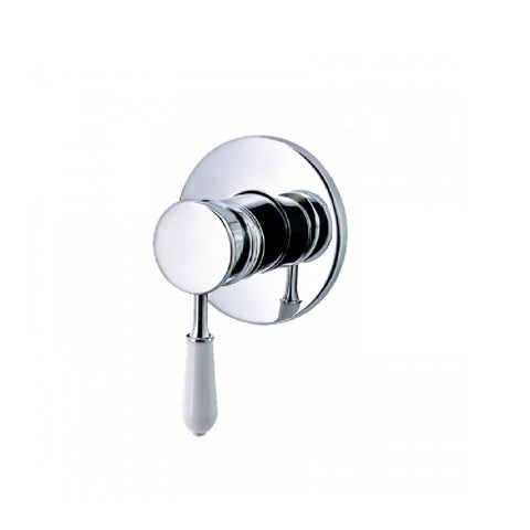 Clasique Shower Bath Mixer Chrome & White BL1171CW