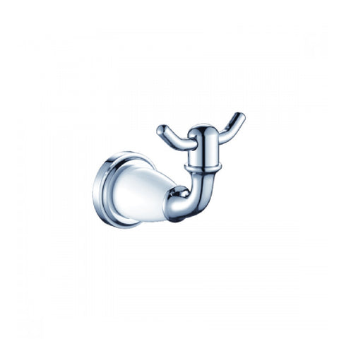 Clasique Robe Hook Chrome & White 1153CW