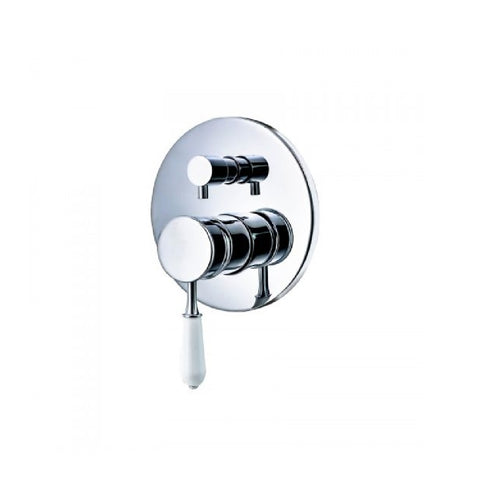 Clasique Shower Bath Mixer with Diverter Chrome & White BL1172CW