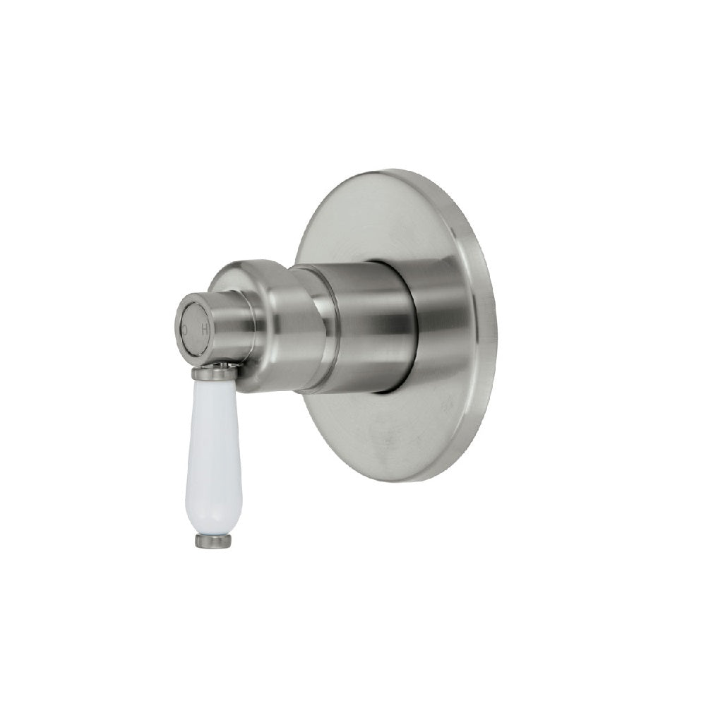 Fienza Eleanor Wall Shower Mixer Brushed Nickel with White Ceramic handle (4358688243772)