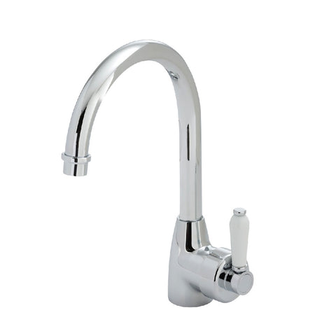 Fienza Eleanor Gooseneck Sink Mixer Chrome with White Ceramic Handle (4358688145468)