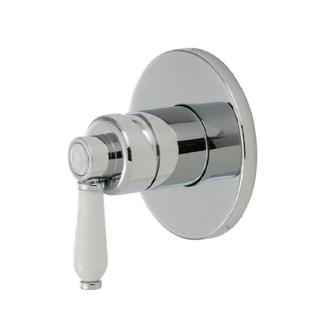 Fienza Eleanor Wall Shower Mixer Chrome with White Ceramic handle (4358687457340)