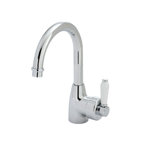 Fienza Eleanor Gooseneck Basin Mixer Chrome with White Ceramic Handle (4358687981628)