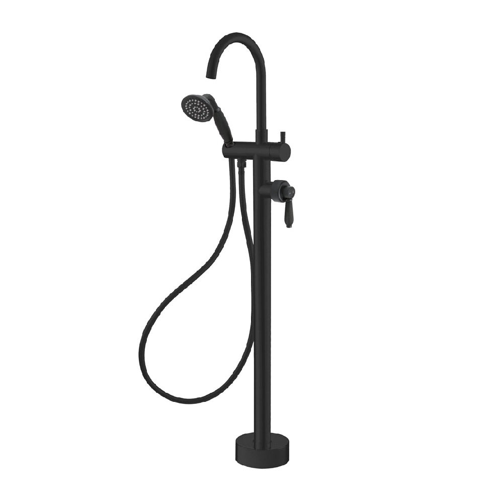 Fienza Eleanor Floor Mixer & Shower Matte Black with Matte Black Handle (4358689259580)