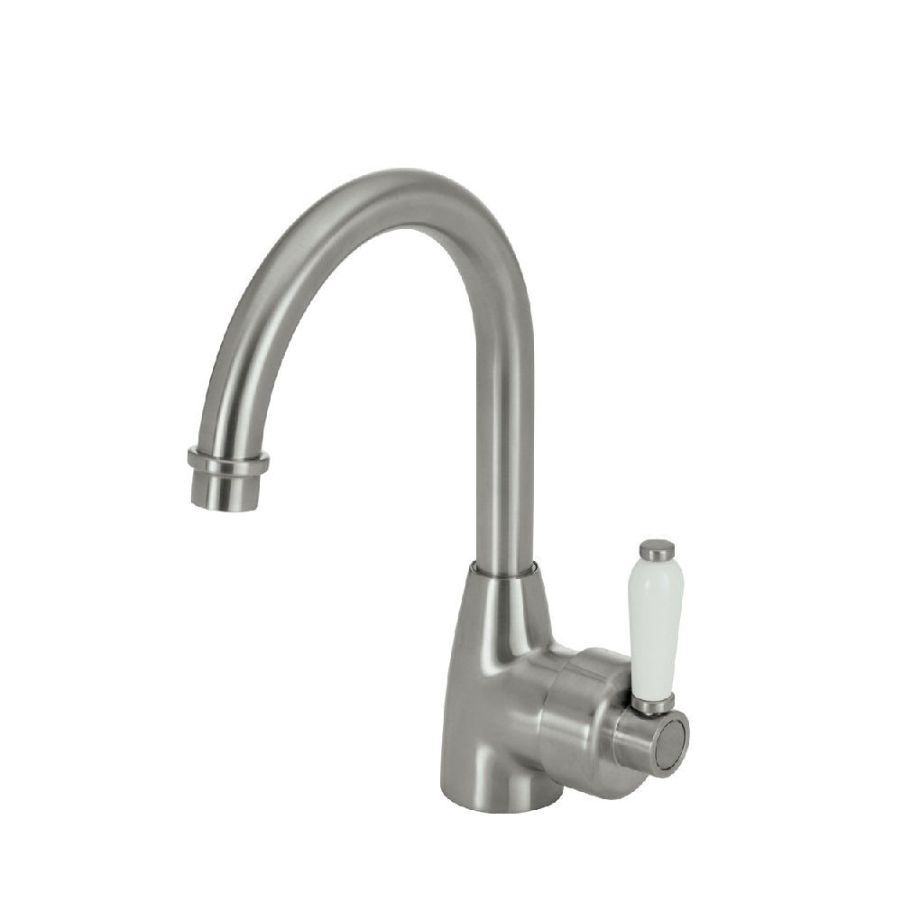 Fienza Eleanor Gooseneck Basin Mixer Brushed Nickel with White Ceramic Handle (4358688669756)