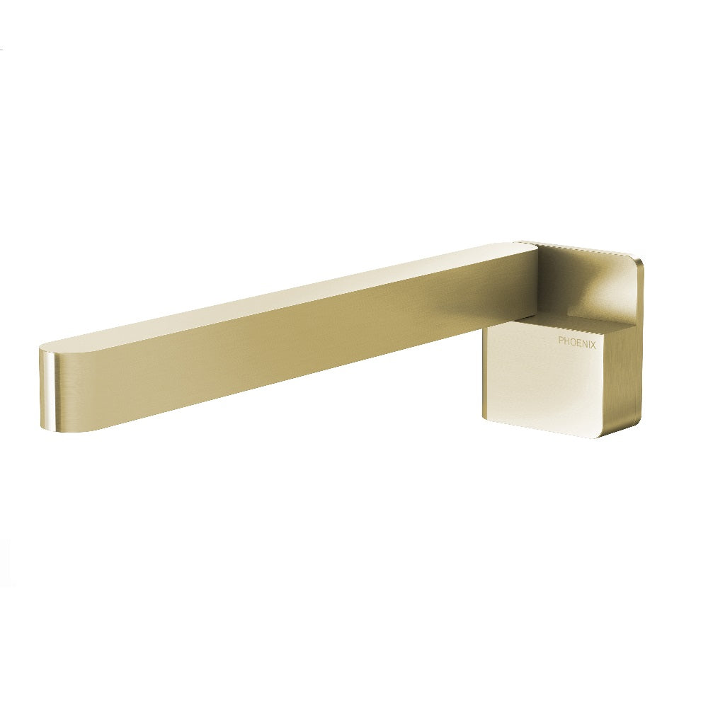 Phoenix Designer Swivel Bath Outlet 230mm Square Brushed Gold (4358682804284)