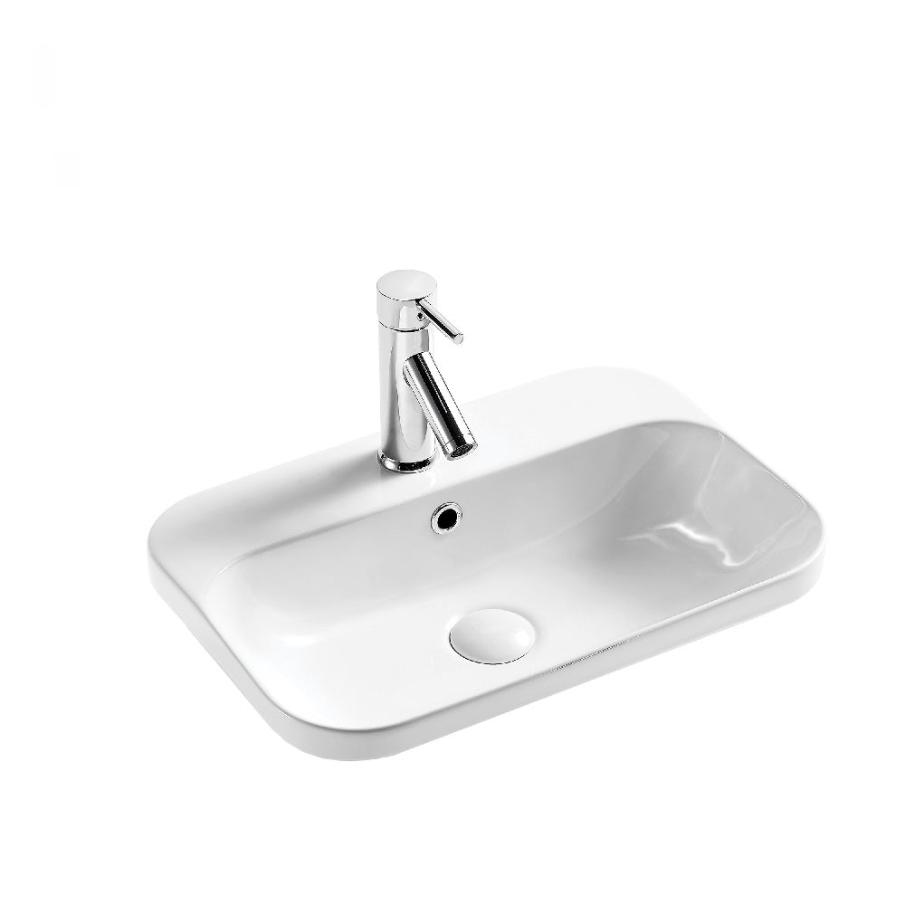 Seima Pacto 530 Basin White with OverflowOne Taphole 191083 (4438189178940)