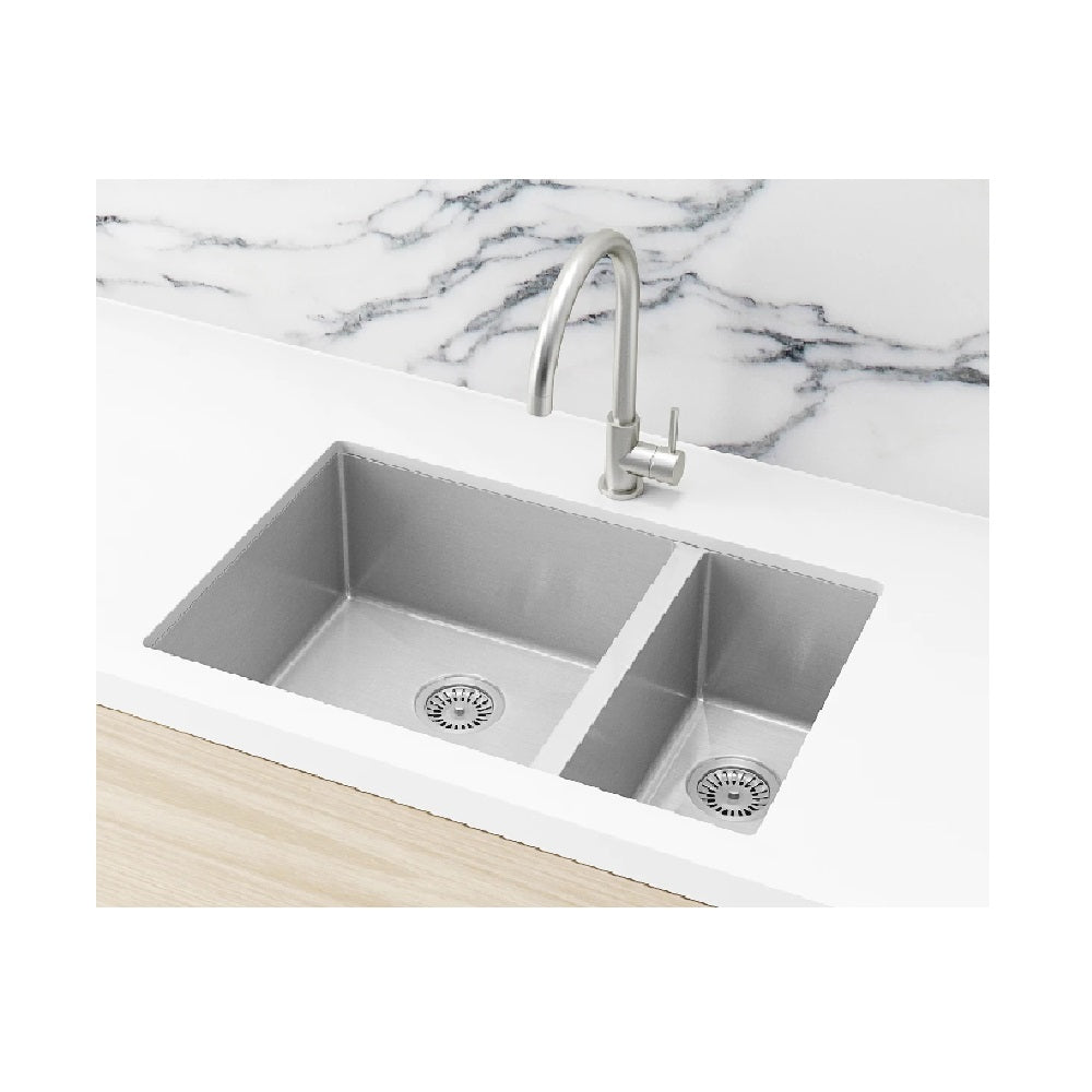 Meir Double Bowl PVD Kitchen Sink 670mm Brushed Nickel (4414611259452)