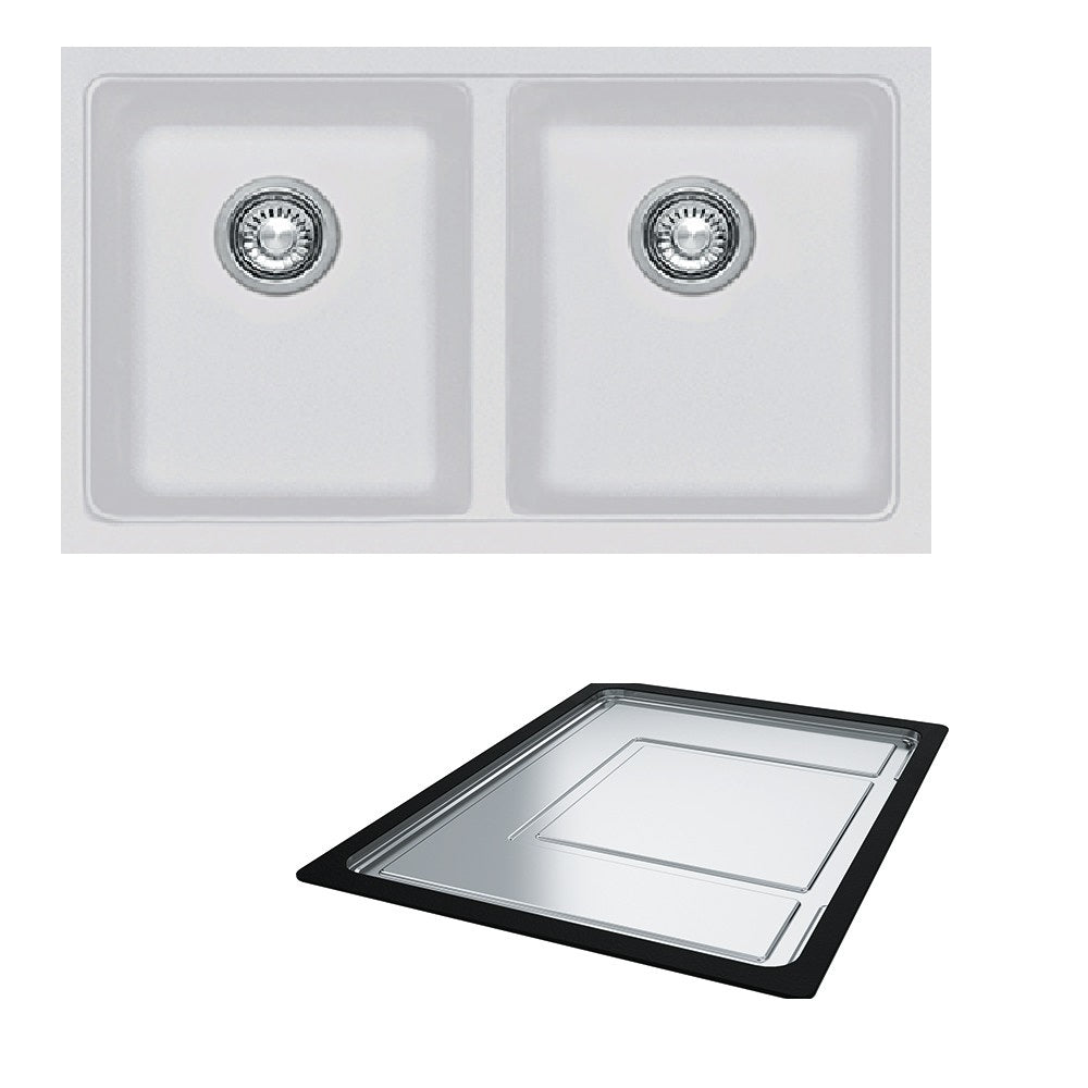 Franke Sink Kubus Granite Double Bowl - Polar White- KBG120 PW (Inc. DT360) (4429426786364)